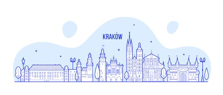 Krakow skyline Poland city buildings vector linear