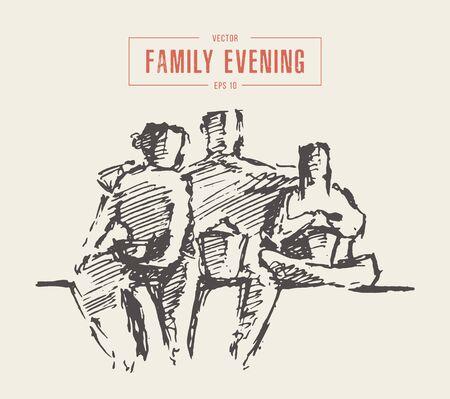 Mother father child time together vector sketch Illustration