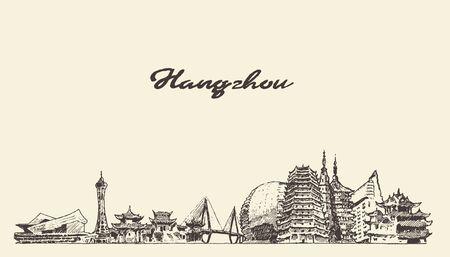 Hangzhou skyline Zhejiang draw East China vector