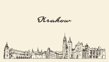 Cracovie skyline Pologne croquis de vecteur dessinés à la main