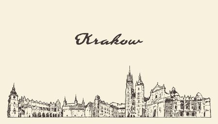 Krakow skyline Poland hand drawn vector sketch