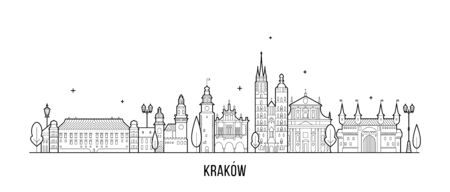 Krakow skyline Poland illustration city a vector Illustration