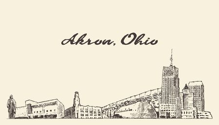 Akron skyline Ohio USA hand drawn vector sketch