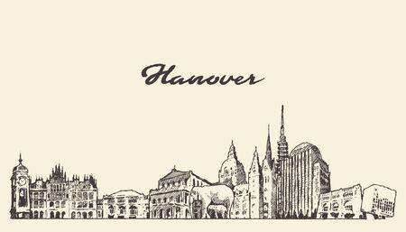 Hanover skyline Lower Saxony Germany vector sketch