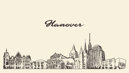 Hanover skyline Lower Saxony Germany vector sketch