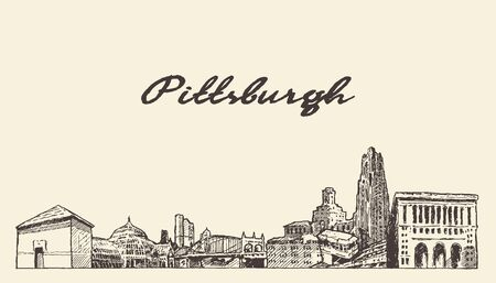 Pittsburgh skyline Pennsylvania USA draw a vector