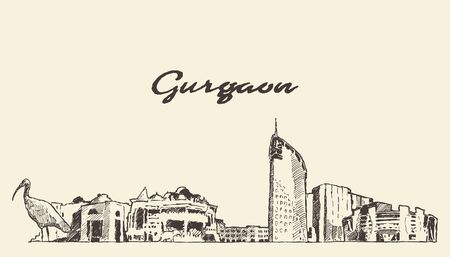 Gurgaon skyline Haryana India drawn vector sketch