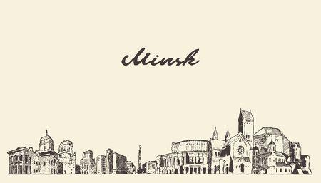 Minsk skyline Belarus hand drawn a vector sketch Illusztráció