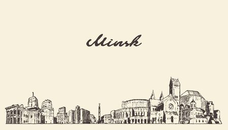 Minsk skyline Belarus hand drawn a vector sketch Illustration