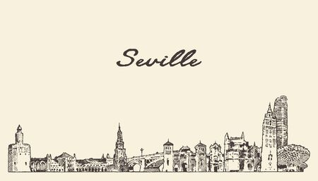 Seville skyline Spain hand drawn vector sketch Illustration