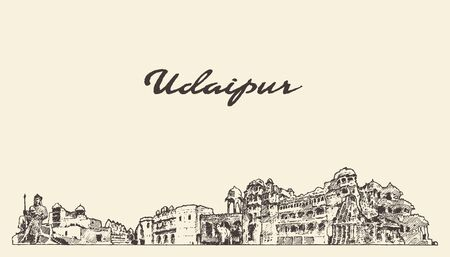 Udaipur skyline Rajasthan India hand vector sketch