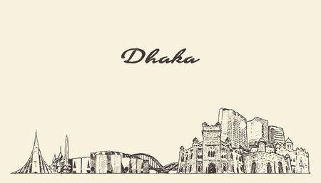 Dhaka skyline Bangladesh hand drawn vector sketch Vettoriali