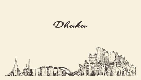 Dhaka skyline Bangladesh hand drawn vector sketch Illustration