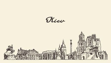 Kiev skyline Ukraine hand drawn vector city sketch Illustration