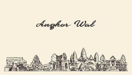 Abbozzo di vettore disegnato orizzonte di Angkor Wat Cambogia