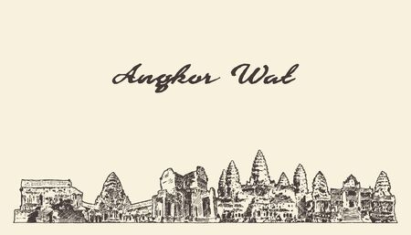 Angkor Wat skyline Cambodia drawn vector sketch