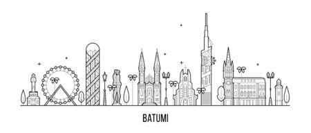 Batumi skyline Georgia city notable buildings line Illusztráció