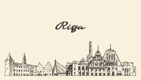 De horizon van Riga, Letland, hand getrokken vectorschets Vector Illustratie