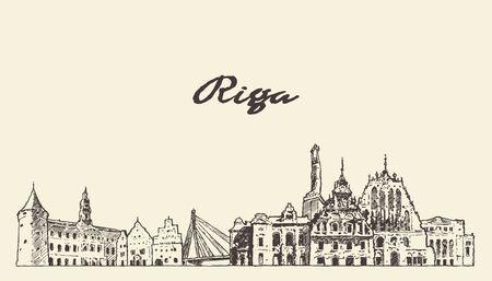 Orizzonte di Riga, Lettonia, schizzo vettoriale disegnato a mano Vettoriali