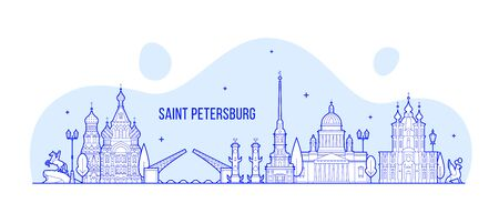Saint Petersburg skyline Russia city vector linear
