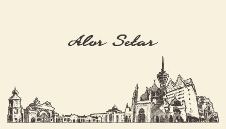 Alor Setar skyline Malasia hand draw vector sketch Stock Photo
