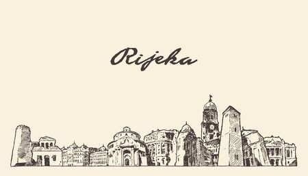 Rijeka skyline Croatia hand drawn vector sketch Stock Photo