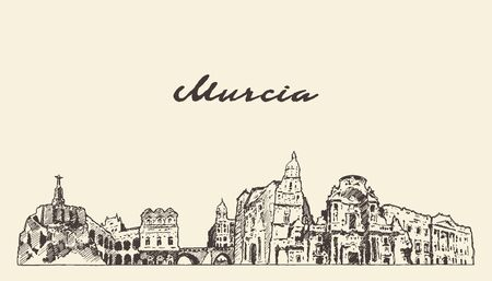 Murcia skyline Spain hand drawn vector sketch city Фото со стока