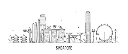 Singapore skyline. This illustration represents the city with its most notable buildings. Vector is fully editable.