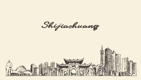 Shijiazhuang skyline Hebei China a vector sketch
