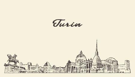Turin skyline, Italy, hand drawn vector sketch