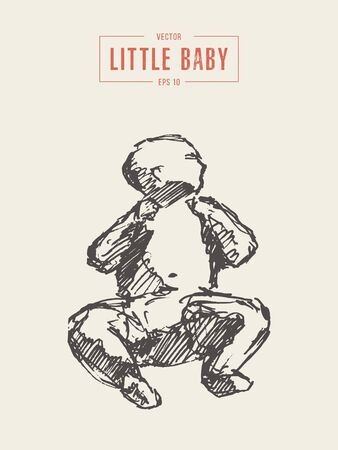 Silhouette of a lying cute little baby, hand drawn vector illustration, sketch