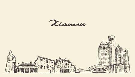 Xiamen skyline Fujian China drawn vector sketch