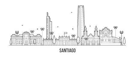 Santiago skyline, Chile. This illustration represents the city with its most notable buildings. Vector is fully editable, every object is holistic and movable Ilustrace