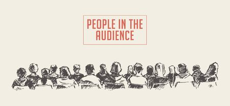 People sitting in the audience. Lecture hall. Hand drawn vector illustration, sketch