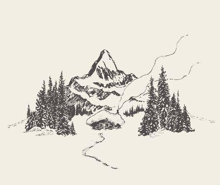Beautiful cozy house mountain fir forest vector 일러스트