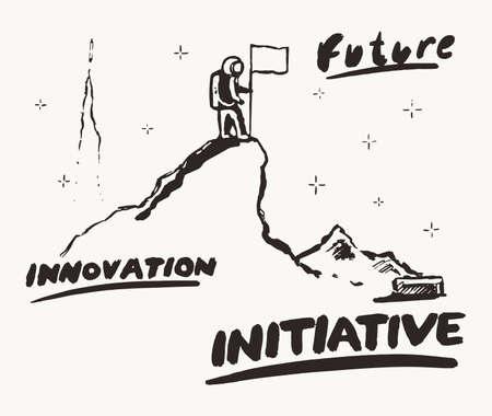 Future innovation initiative a astronaut a vector Illusztráció