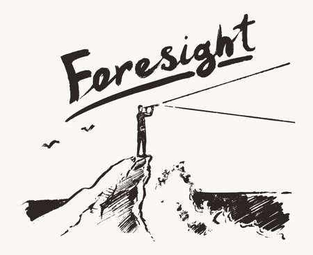 Businessman cliff sea forecast foresight a vector