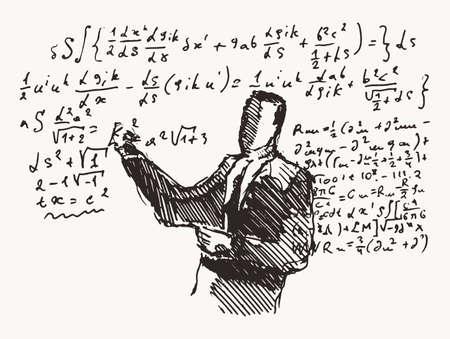 Professor formulas a blackboard learning a vector Illusztráció
