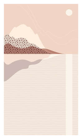 Abstract sea landscape. Beautiful background, scenery with sun and mountains. Warm, pastel colors. Trendy, modern template for posters, stories, banners. Elegant design