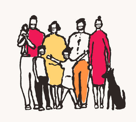 Whole family are standing in a medical mask. Conceptual illustration. COVID 19, coronavirus disease protection, air pollution. Hand drawn vector illustration