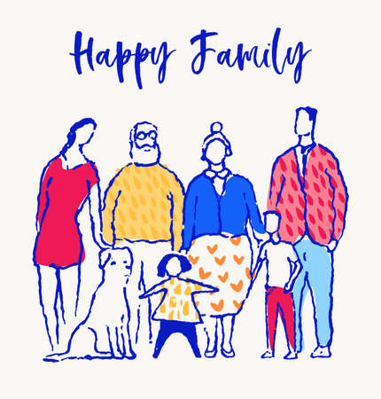 Happy family together. Mother, father, sister, brother Hand drawn vector illustration sketch