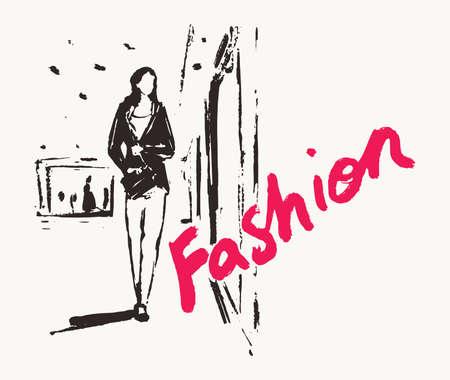 Girl walks past the shop window, hand drawn vector illustration, sketch Иллюстрация