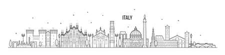 Italy skyline. This illustration represents the country with its most notable buildings. Vector is fully editable, every object is holistic and movable Çizim