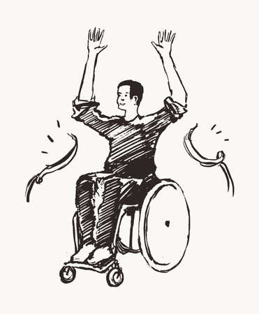 Man on a wheelchair tears through the finish line. Concept of victory, aspiration and achievement. Hand drawn vector illustration