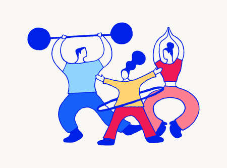 The family goes in for sports. Mom does yoga, dad does weightlifting, daughter twists the hoop. Abstract stylized hand vector illustration