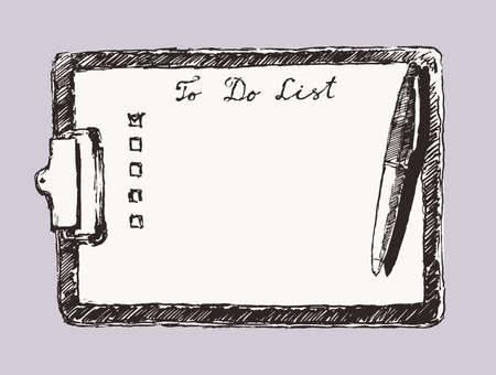 Pad, tablet with a to-do list, empty copy space. Hand drawn vector illustration Çizim