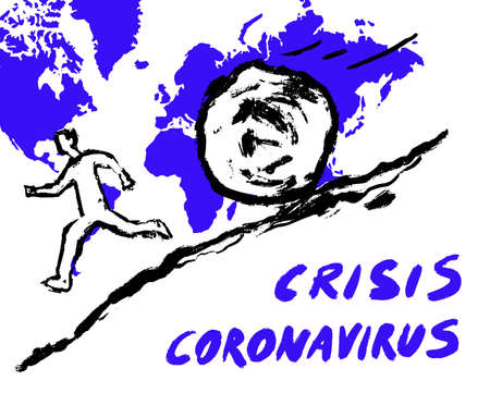 Conceptual illustration of a man running away from a large round stone. Financial, economic crisis of the world. Impact of coronavirus, 2019-ncov disease Çizim