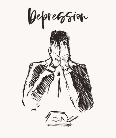 Depressed man emptiness lonelinessn vector a drawn