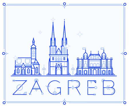 Skyline Zagreb, Croatia vector city buildings line
