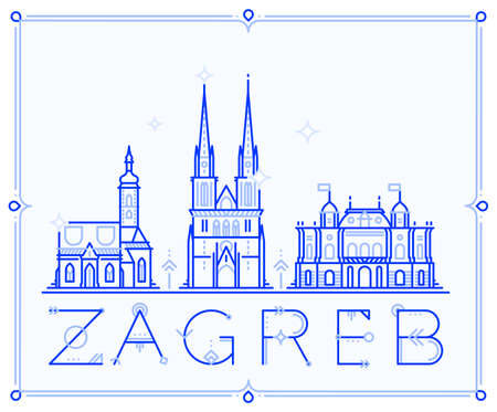 Skyline Zagreb, Croatia vector city buildings line 矢量图像